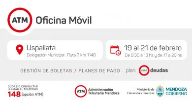 ATM atenderá al público en Uspallata